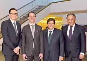 Adrian van den Hoven, Director General de EGA; Christoph Stoller, Vicepresidente de EGA; Raúl Díaz-Varela, Presidente de AESEG; y Ángel Luis Rodríguez de la Cuerda, Director General de AESEG.